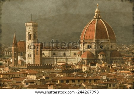 Vintage image of Florence with Florence cathedral and Giotto Belfry, Italy - stock photo