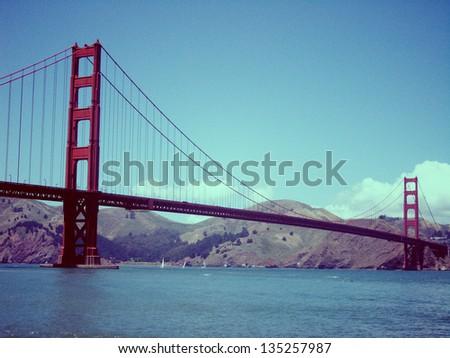 Vintage image of Golden Gate Bridge, San Francisco - stock photo