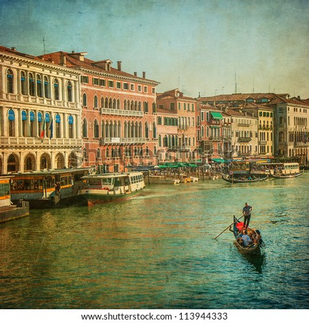 Vintage image of Grand Canal, Venice - stock photo
