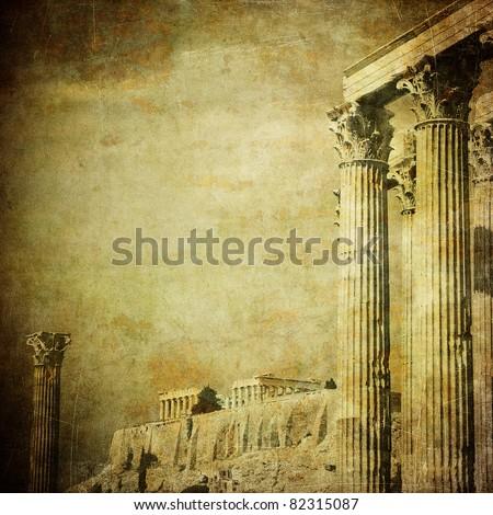 Vintage image of greek columns, Acropolis, Athens, Greece - stock photo