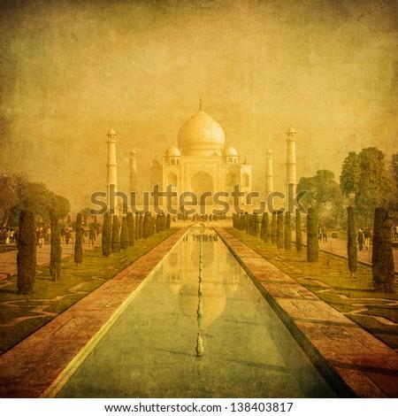 Vintage image of Taj Mahal, Agra, India - stock photo