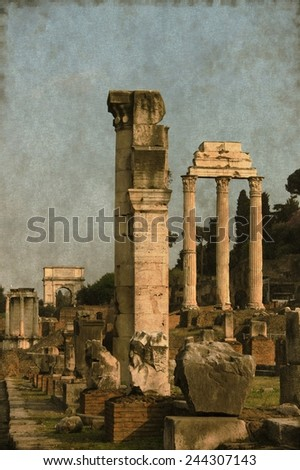 Vintage image of the Roman Forum in Rome, Italy - stock photo