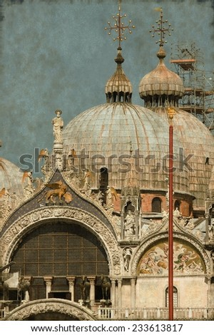 Vintage image of the St. Mark Cathedral in Venice, Italy - stock photo