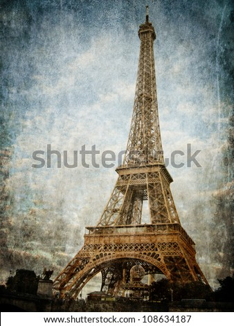 Vintage images of Eiffel Tower - stock photo