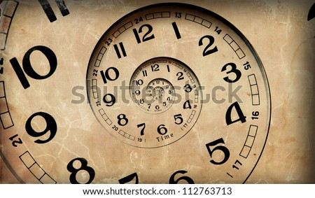 Vintage infinity clock.  Time concept. - stock photo