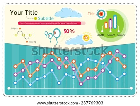 Vintage infographics set weather icons and elements for presentation and graph with points. Cloud Infographic for business. Raster version - stock photo