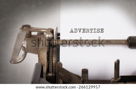 Vintage inscription made by old typewriter, Advertise - stock photo