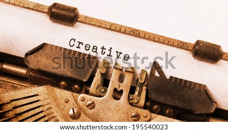 Vintage inscription made by old typewriter, creative - stock photo