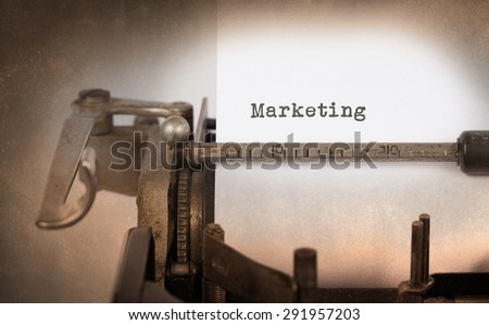 Vintage inscription made by old typewriter, marketing - stock photo
