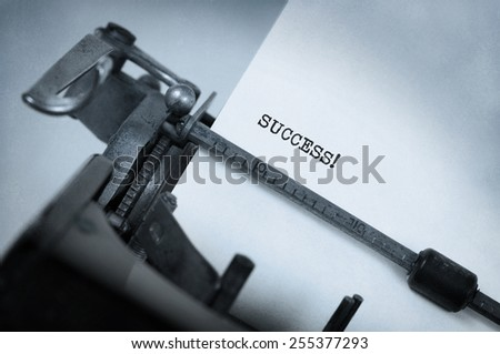Vintage inscription made by old typewriter, Success - stock photo