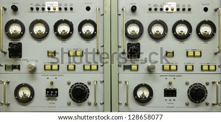 Vintage instrument panel - stock photo