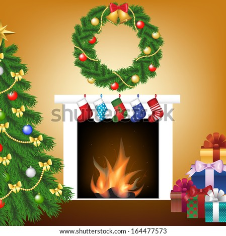 Vintage interior of room with christmas tree, gift and fireplace - stock photo