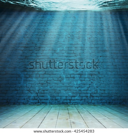 Vintage interior underwater. Abstract illustration background - stock photo