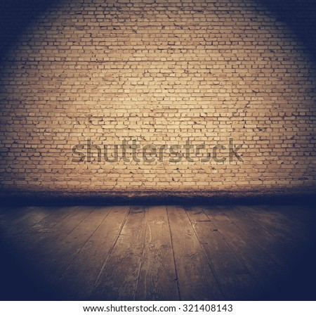 vintage interior with brick wall, retro filtered, instagram style - stock photo