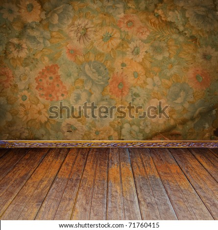 vintage interior with floral wallpaper - stock photo