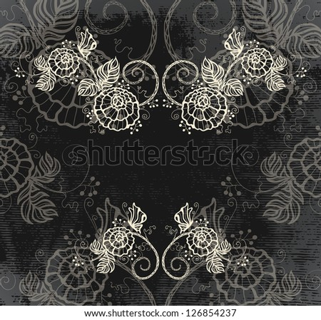 vintage invitation with roses - raster copy - stock photo