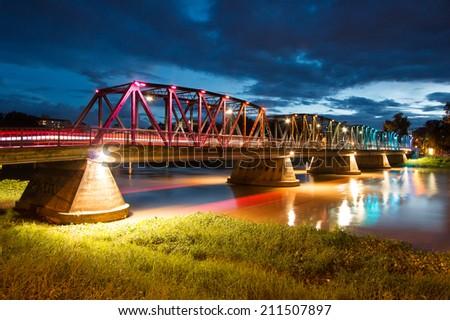 Vintage Iron Bridge at twilight, Chiang Mai, Thailand - stock photo
