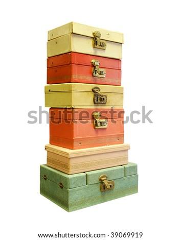 Vintage jewelry boxes - stock photo