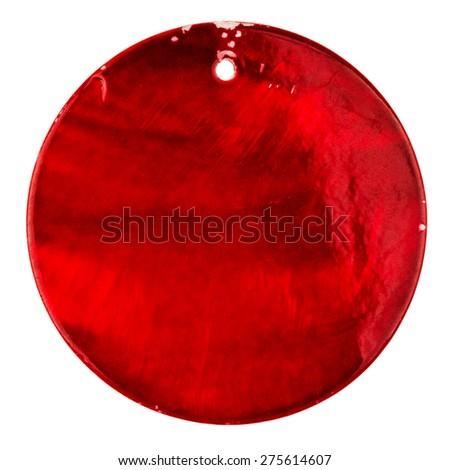 Vintage jewelry element - red shiny circle pendant - isolated on white - stock photo
