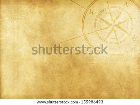 Vintage Journey Background with Compass Rose. Aged Paper Background. - stock photo