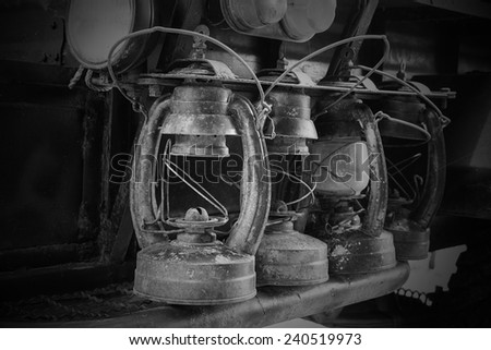 vintage kerosene lamp - stock photo