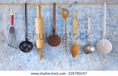 vintage kitchen utensils,cooking concept - stock photo