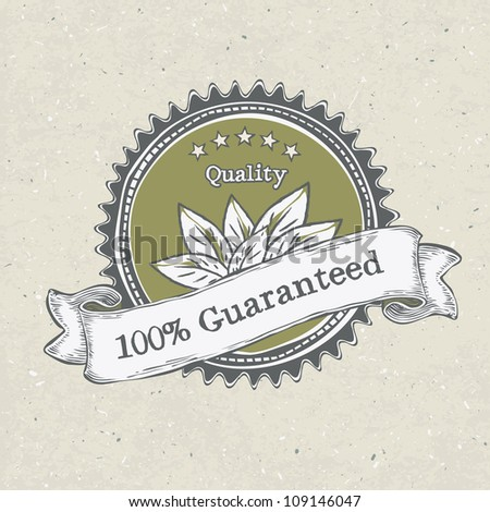 Vintage label organic products. Raster version, vector file available in portfolio - stock photo