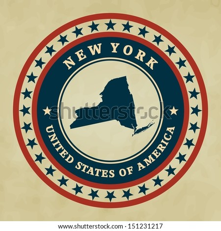 Vintage label with map of New York - stock photo