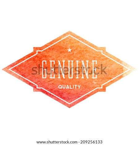 Vintage label with orange watercolor background - stock photo
