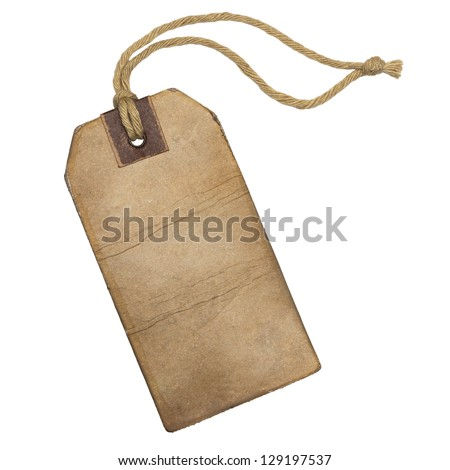 Vintage label with string, isolated on the white background. - stock photo
