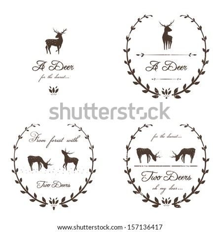Vintage Labels Collection with Deers. Free font used- Freebooter Script. Raster variant. - stock photo