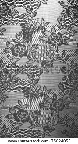 vintage lace curtain black and white - stock photo