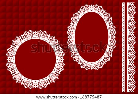 Vintage Lace Doily Picture Frames, Eyelet Trim, quilted red satin background, round and oval antique designs, copy space for do it yourself albums, scrapbooks, arts, craft,  Valentines Day, Christmas. - stock photo