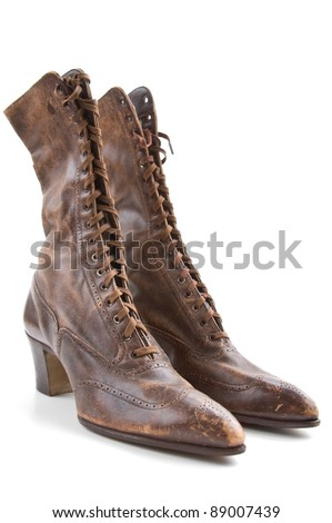 Vintage ladies boots isolated on a white background - stock photo