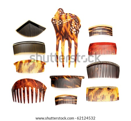 Vintage ladies combs collection, isolated on white background - stock photo