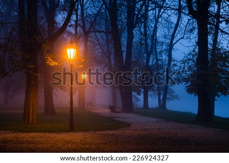 Vintage lamp in the city park during dawn - stock photo