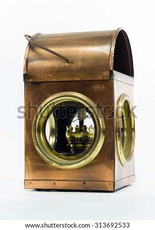 Vintage lamp, lantern isolated on a white background - stock photo