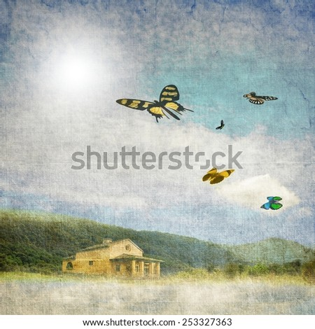 Vintage landscape with small house and colorful butterflies in flight - stock photo