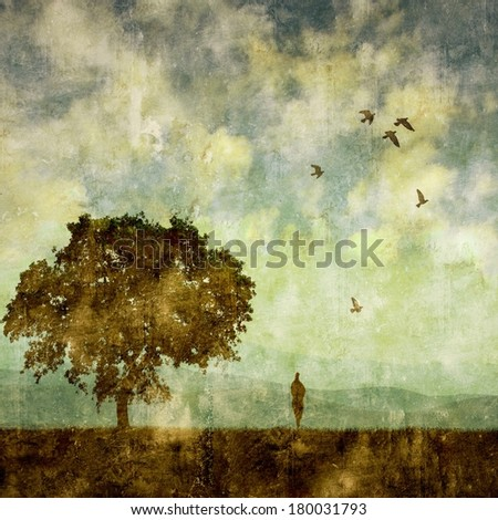 Vintage landscape with tree and small human figure - stock photo