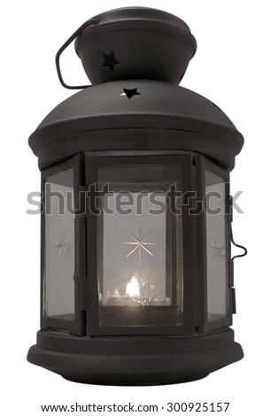 Vintage lantern with candle isolated on white background. Clipping path included. - stock photo