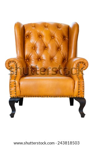 vintage leather armchair on wooden isolate on white clipping path - stock photo