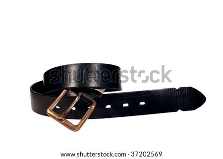 vintage leather belt - stock photo