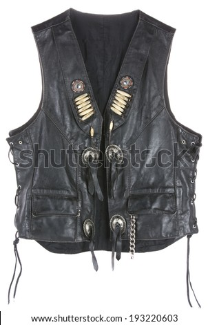Vintage Leather biker jacket vest custom made open isolated on white - stock photo