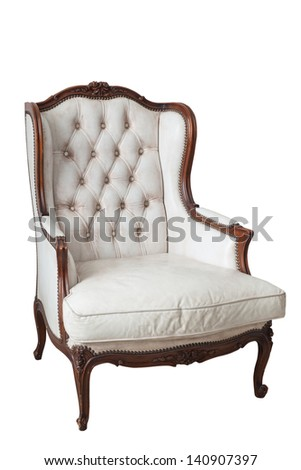 Vintage leather chair isolated on white background - stock photo