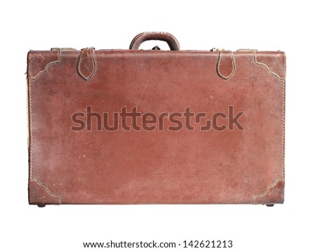 Vintage leather luggage isolated on white background - stock photo