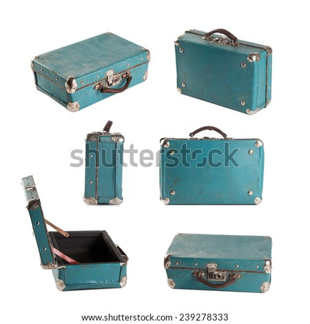 Vintage leather suitcase, bag. White background. Light-blue (turquoise). Baggage. Isolated. - stock photo
