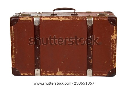 Vintage leather suitcase on white background - stock photo