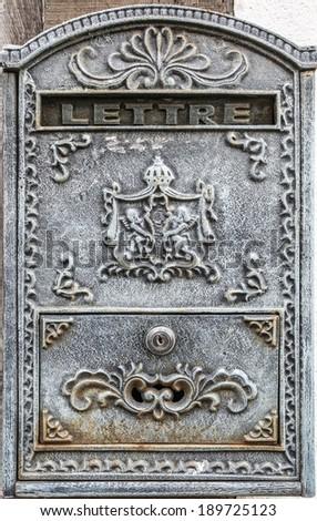 Vintage letter box in Beuvron en Auge, France - stock photo