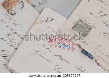 vintage letters from New York to Italy - stock photo