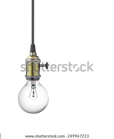 Vintage light bulb isolated on white background - stock photo